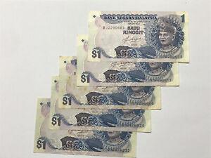 B0024 - 5pcs Malaysia RM1 Ringgit Aziz taha banknote 5th series - EF