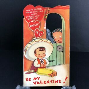 Vtg Antique Mechanical Valentines Card 1930s 1940s Sombrero Hat Spanish Senorita