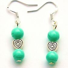 Green Ceramic Bead Drop Earrings With Sterling Silver Hooks New LB192