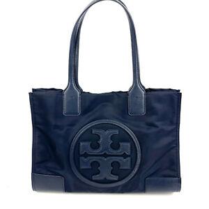 Tory Burch Mini Ella Tote Bag Navy Blue Nylon Leather Trim Logo Handbag Purse