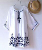 New~Medium~White Navy Blue Embroidered Peasant Boho Vacation Beach Dress~8/10/M