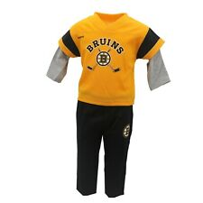 Boston Bruins Official NHL Reebok Youth Kids Size Long Sleeve Shirt & Pants Set