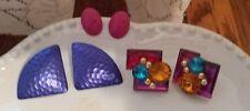 Vintage 80's 90's Earrings Costume Jewelry 3 pc lot Purple Pink Jewel Costume