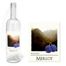 Wine Bottle Labels Self Adhesive Home Made Brew WaterProof Label 30 PACK  Merlot