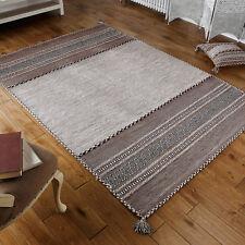 Oriental Weavers Kelim Rug Runner Cushion Hand Woven Cotton & Chenille Beige 160 X 230 Cm