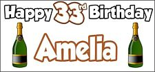 Champagne Bottle 33rd Birthday Banner x 2 Party Decorations Mens Womens Adult