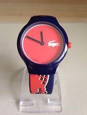 Lacoste Unisex Goa Silicone Blue Strap Orange/Red Dial Watch.