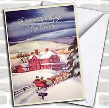 Noche de nieve Vintage Tradicional Navidad Tarjeta Personalizada