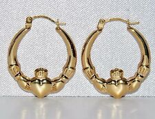 "9ct Yellow Gold Claddagh Ladies Creole Hoop Earrings ""Love Loyalty & Friendship"""