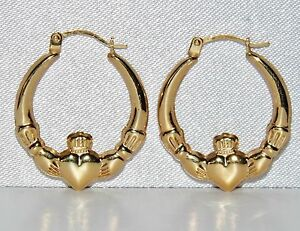 9ct Gold Claddagh Creole Hoop Earrings