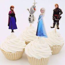 24pcs Frozen Anna Elsa Princess Cupcake Cake Toppers Decor Kids Birthday Party