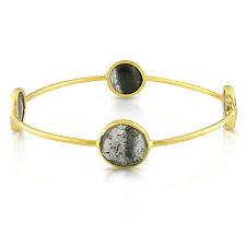 "22k Yellow Gold Over Silver 16 ct TGW Rutilated Quartz Bracelet Bangle 8"""