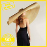 Summer Oversize Beach Hats For Women 25cm Brim Large Straw Hat Sun Protection