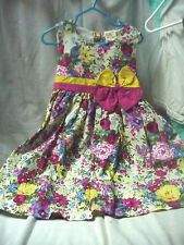 BABY GIRL SILLY SISSY DRESS 4T FLOWER PINK YELLOW BOW PRETTY