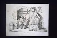 Incisione d'allegoria e satira Abolizione Sacra Inquisizione Don Pirlone 1851
