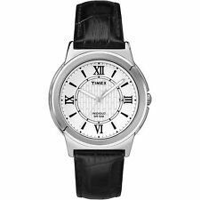 Timex T2P520, Men's, Black Leather Watch, White Dial, Indiglo, Date T2P5209J