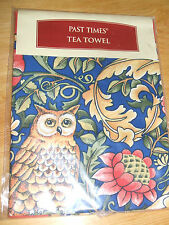 PAST TIMES  TEA TOWEL UNUSED COTTON ARTS AND CRAFTS OWL FLOWERS