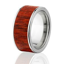 Exotic Hard Wood Wedding Band: Bloodwood Inlay in Titanium Ring, Wood rings