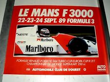 Affiche Le Mans 1989  Formule 3000 JJ Lehto  sport auto  car course poster