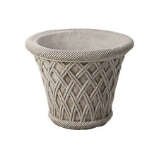 LARGE WICKER POT Hand Cast Stone Garden Ornament Flower Planter ⧫onefold-uk