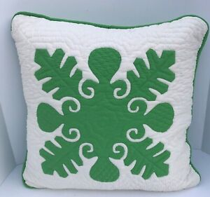 Vintage Hawaiian Hand Quilted and Appliquéd Pillow Cover 18 x 18 Green/White