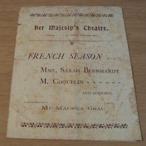 ORIGINAL 1901 'Misnamed' HER MAJESTY THEATRE Program~SARAH BERNHARDT in L'AIGLON