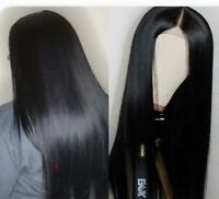 """US Stock Lace Front Brazilian Black Natural Straight Human Hair Wigs 12""""-18"""""""