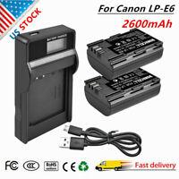 2x LP-E6 Battery +LCD Charger for Canon EOS 5D Mark II III 6D 7D 60D 60Da Camera