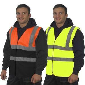 New Yellow Orange Hi Vis High Viz Visibility Vest Waistcoat Safety Work Jacket