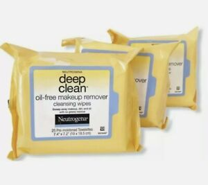 3X Neutrogena Deep Clean Oil-Free Makeup Remover Cleansing Wipes