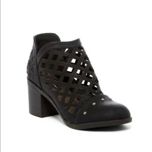 Michael Antonio Women's Stacey Caged Studded Black Booties EUC - Size 8.5