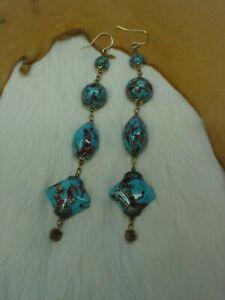 Vintage MURANO GLASS ~ TURQUOISE Blue & COPPER ~ HANDMADE Beaded Dangle EARRINGS