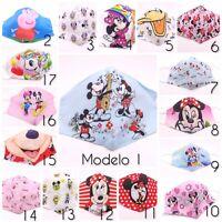 1Mascarilla tela Niños Disney Pepa Pig Minnie Mickey reutilizable lavable,filtro