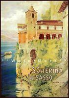 Santa Caterina Del Sasso Italy 1925 Vintage Poster Print Retro Style Travel Art