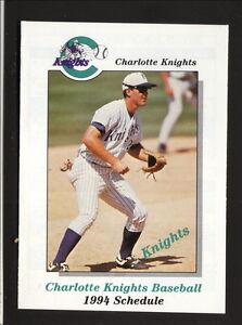 Charlotte Knights--1994 Pocket Schedule--Carolina Place--Indians Affiliate