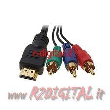 CONVERTITORE HDMI MASCHIO a RCA COMPONENT RGB MONITOR TV CONSOLLE VIDEOGIOCO