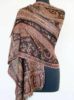 Wool, Paisley, Jamavar Scarf or Shawl. Black, Burgundy. India, Jacquard Jamawar