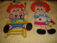 Vintage Bobbs Merrill Co. 1972 Raggedy Ann And Andy Cardboard Cutouts