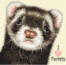 FERRET complete counted cross stitch kit ~ Love ferrets *Jann Designs