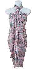 Pink Green Paisley Print Sarong Pareo Scarf Wrap Swimsuit Beach Cover Up Shawl 3
