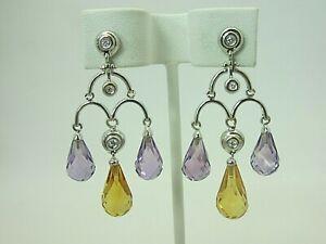 New 18k White Gold Amethyst Citrine Diamond Chandelier Briolette Earrings Dangle
