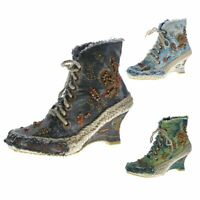 Damen Keil Stiefeletten Wedges Batik-Look Stoff Schuhe Stiefel Muster variieren