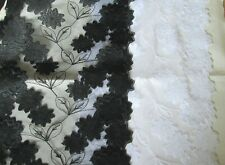 WIDE RIGID LACE EMBROIDERED TULLE 22cm wide black or white Double scallop trim