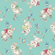Dear Little World Little Bunnies Rabbits Light Blue Cotton Quilting Fabric 1/2YD