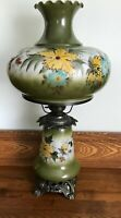 """Vintage Hurricane 3-Way Parlor Lamp Large Hand painted  28"""" Gone with the Wind"""