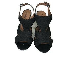Lucky Brand Shoes Heels Wedges Sandals Women Size 8M Black Textile Upper