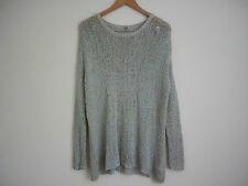 WOMEN'S ECOTE LIGHT GREY COTTON LOOSE KNIT OVERSIZED LONG SWEATER - SIZE SMALL