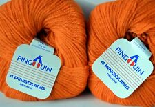 """10 balls PURE WOOL 8 Ply - ORANGE - Pinguoin """"4Pinguoins"""" Made in France"""