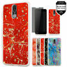 For Coolpad Legacy (Not Go Version) Marble Glitter Case + Tempered Glass