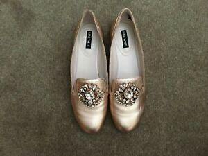 """""""NINE WEST"""" NWLONGSHOT Rose Gold leather closed toe flat slip on AU 7.5M"""